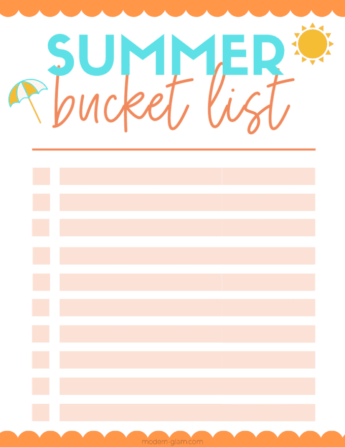 DIY summer bucket list