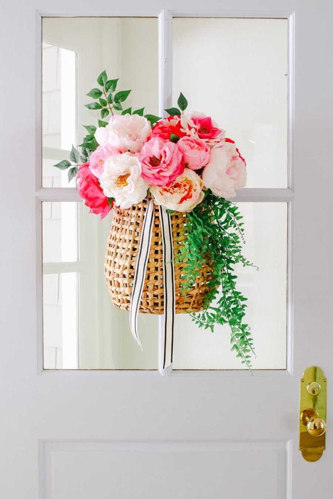 summer wreath with peonies