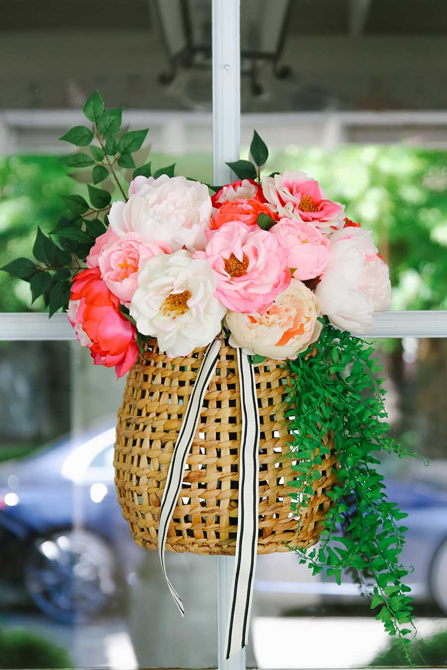 hanging basket peony wreath for front door