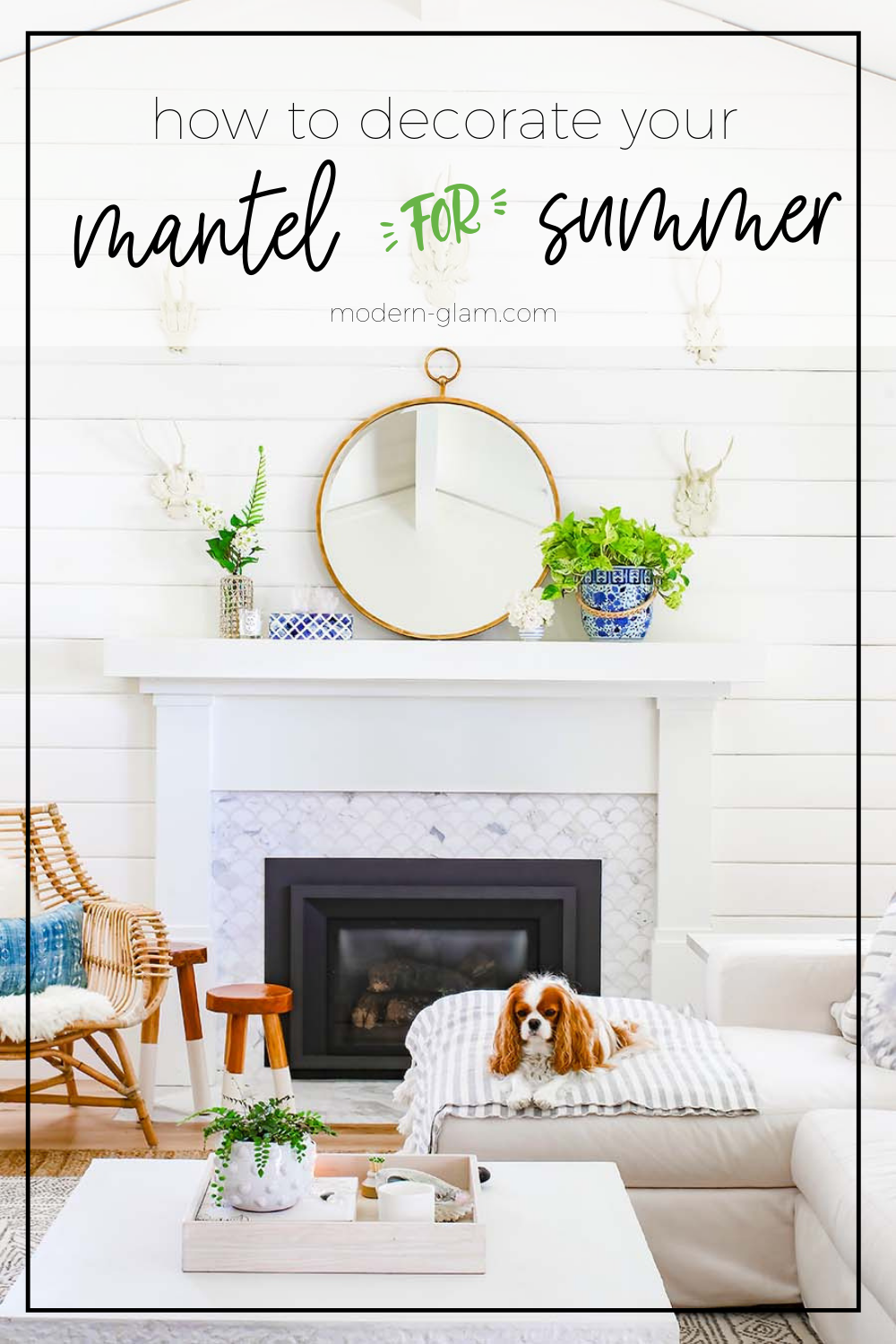 summer mantel decorating idea