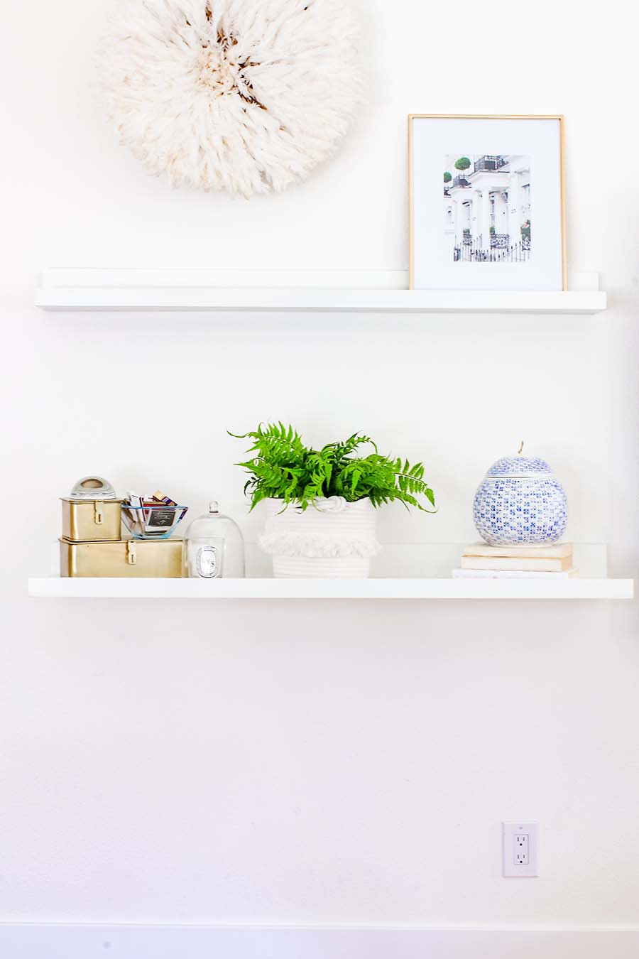 blue and white shelf styling