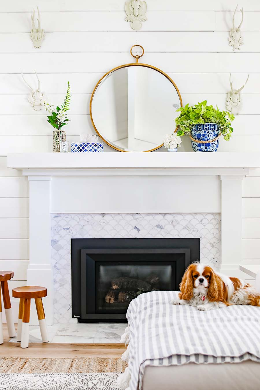 blue and white mantel decorations