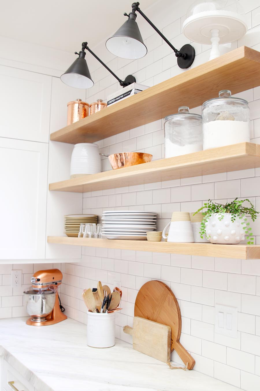 modern farmhouse kitchen open shelves