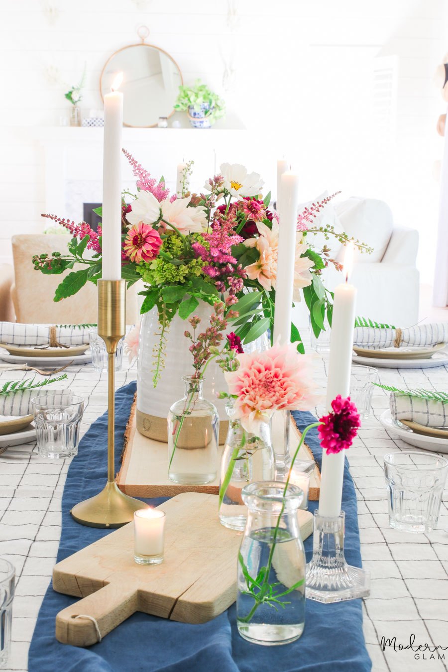 boho flower centerpiece for summer