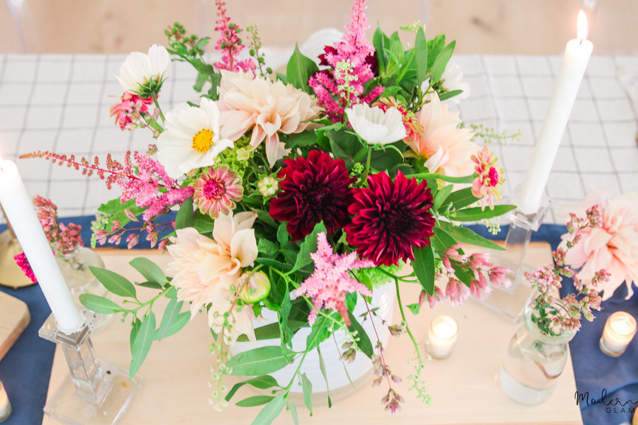 rustic summer centerpiece with wildflowers