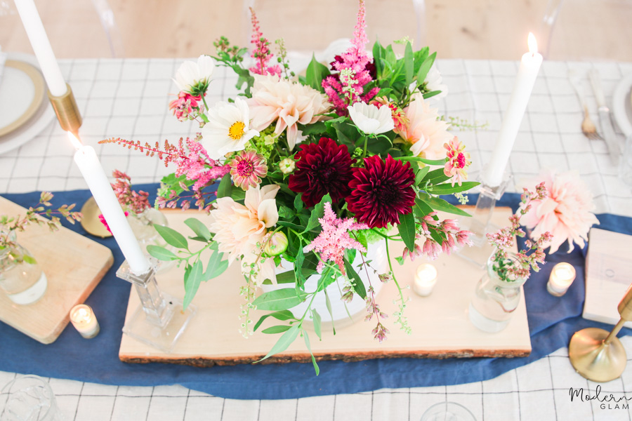 summer table with dahlias
