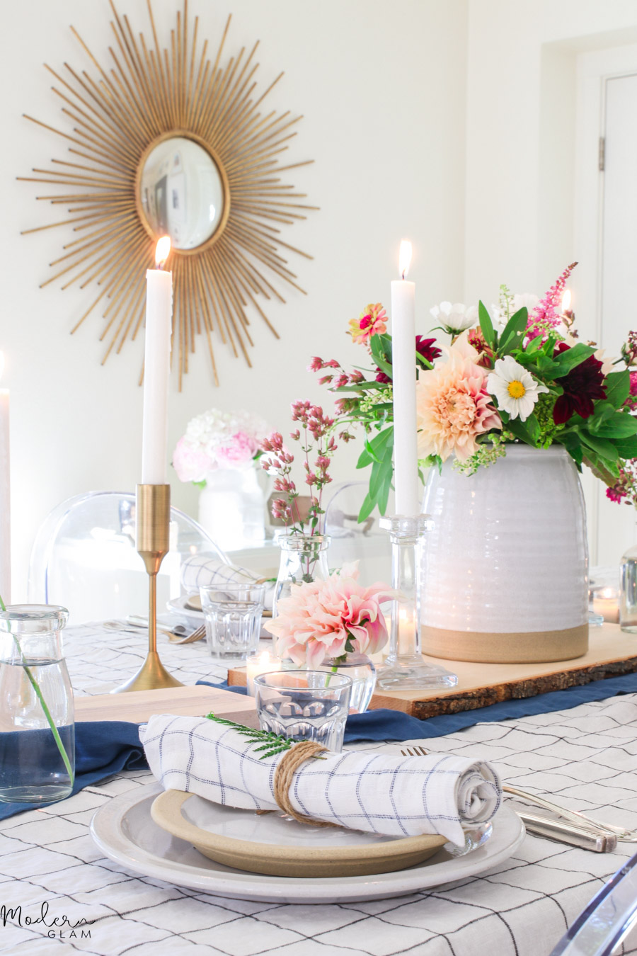 casual summer table with flowers