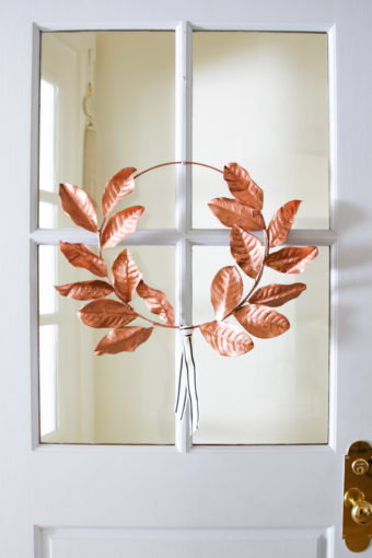 DIY gold laurel wreath for front door
