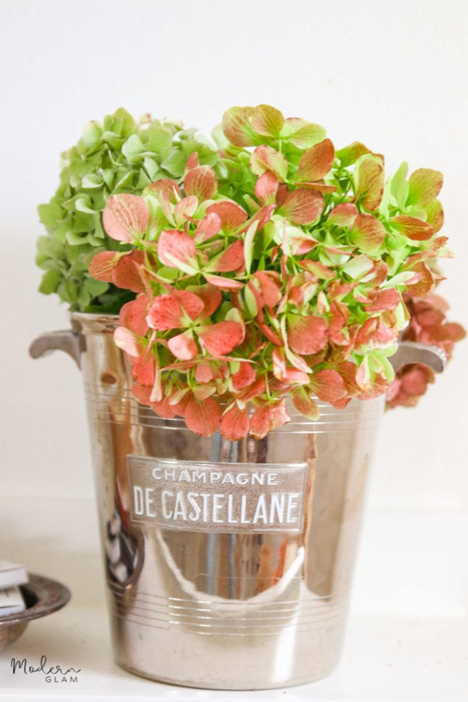 vintage champagne bucket with flowers