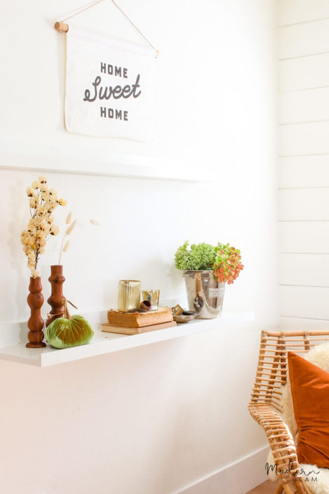 modern farmhouse fall shelf styling
