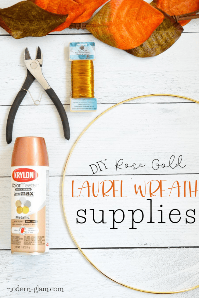 DIY laurel wreath supplies