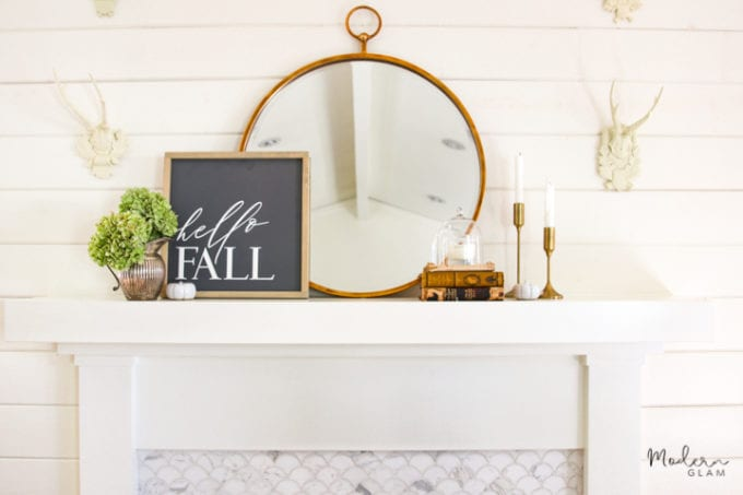 minimalist mantel decor for fall