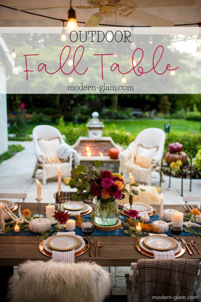 Outdoor Fall Tablescape An Autumn Harvest Table Modern Glam