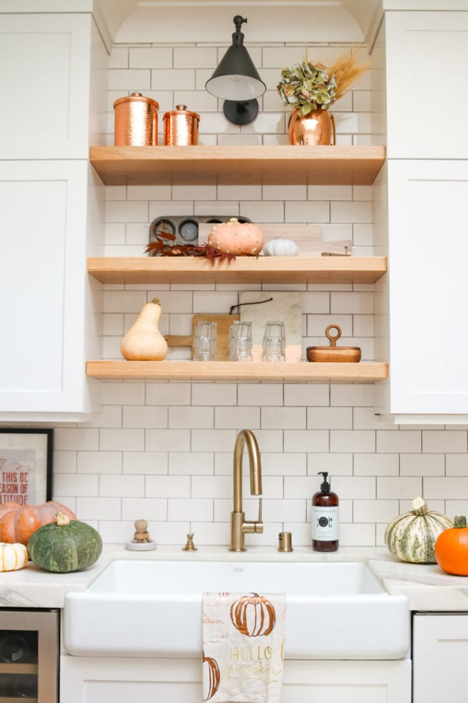 open shelving above sink