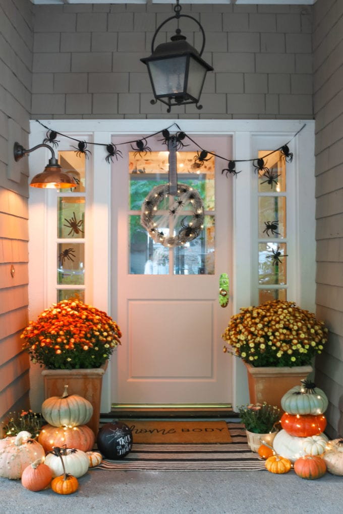 halloween front porch with spiders