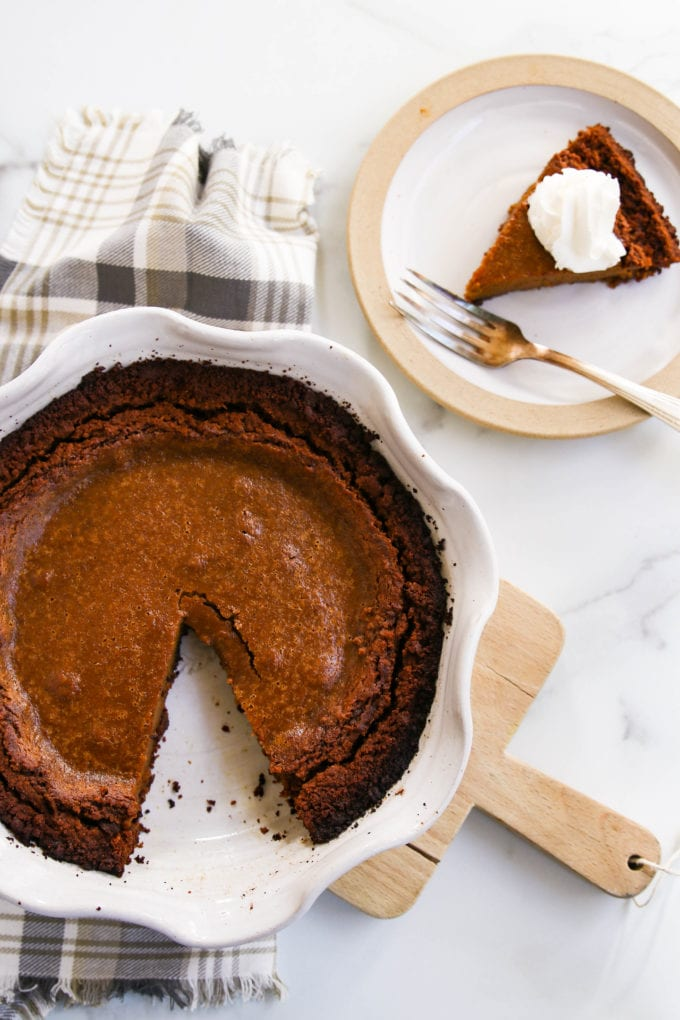 pumpkin pie with gingersnap cookie crust