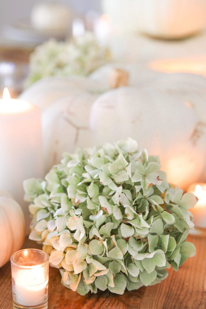 thanksgiving table setting with white pumpkins