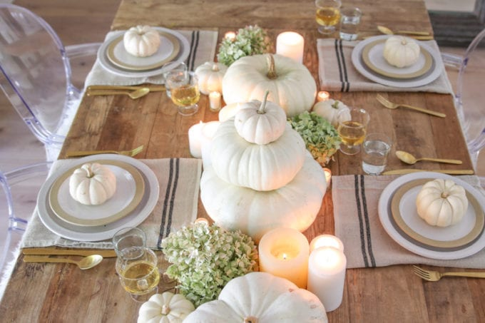 gold and white thanksgiving table setting