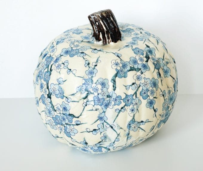 decoupaged pumpkin diy project