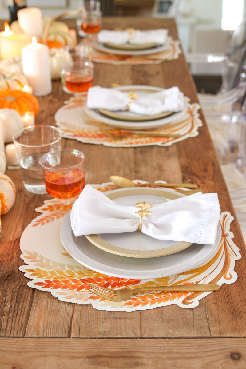orange and white thanksgiving table