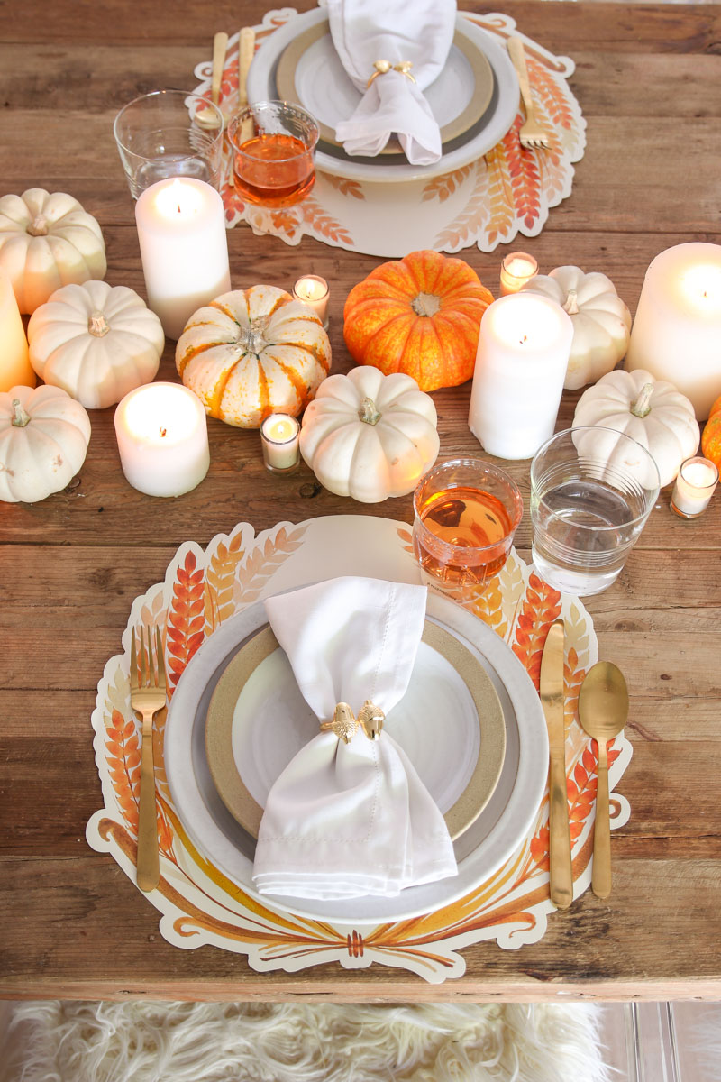 orange and white thanksgiving table setting