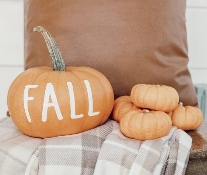 pumpkin with vinyl decals