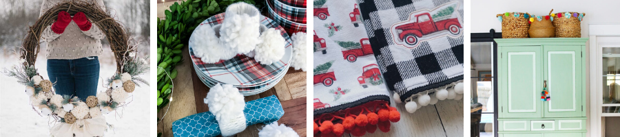 Pom Pom towels, wreaths, napkin holders for blogger tour.