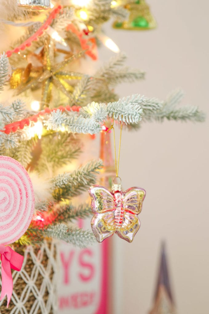 pink christmas tree for kids