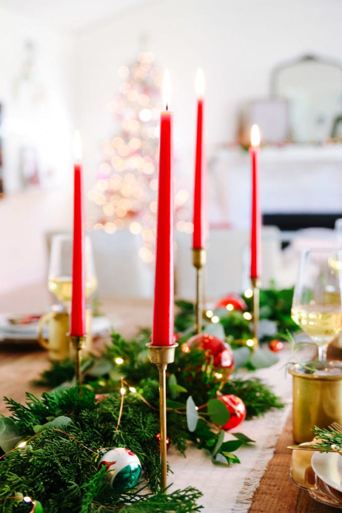 vintage modern christmas table setting