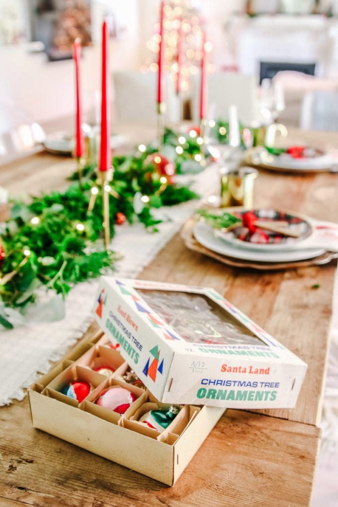 vintage christmas ornaments table setting