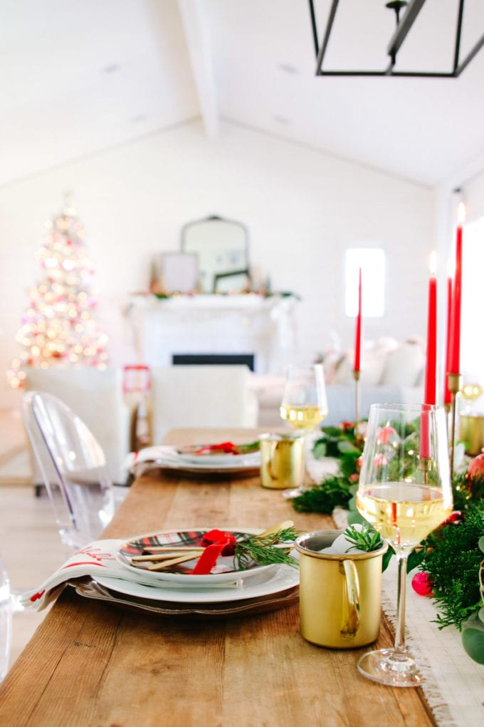white and red holiday table