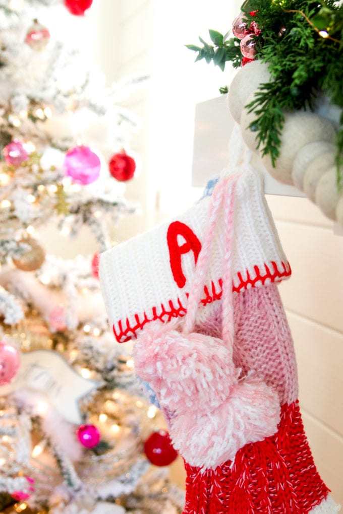 modern holiday mantel stockings