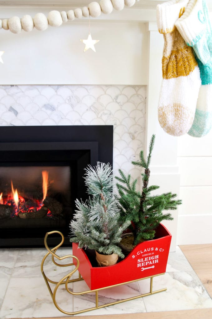 modern holiday mantel