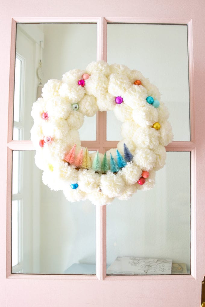 colorful bottle brush christmas wreath