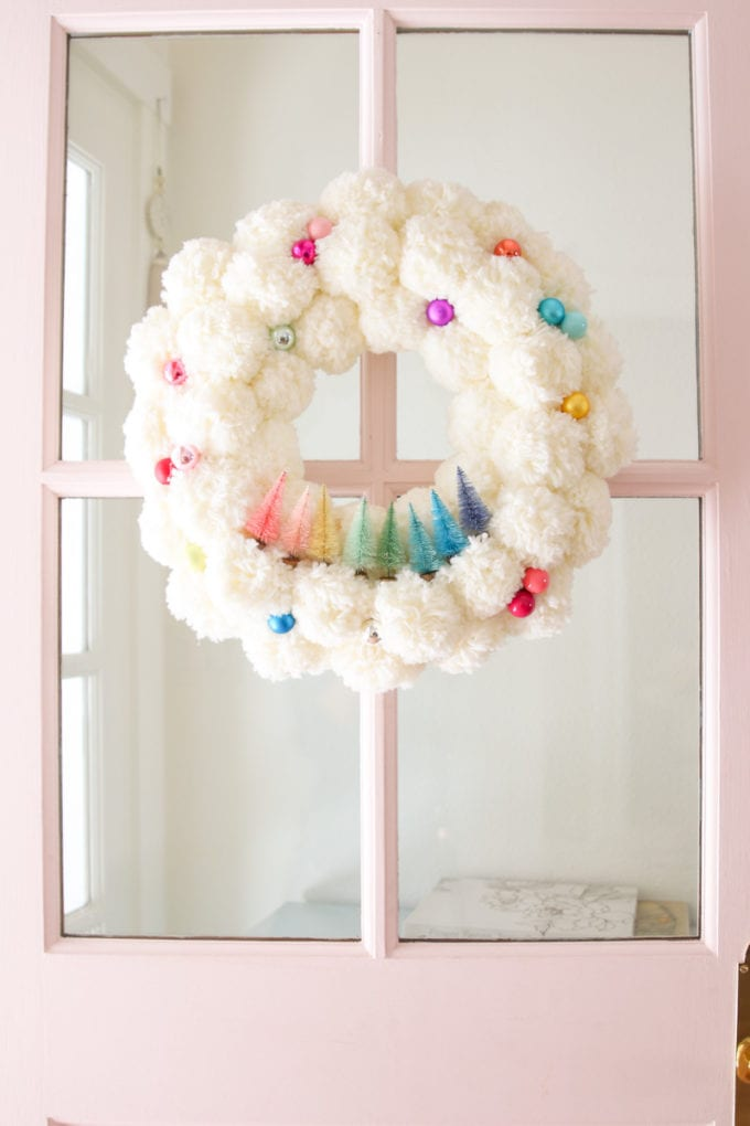 bottle brush tree christmas wreath with pom poms