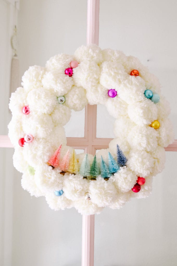christmas wreath with pom poms