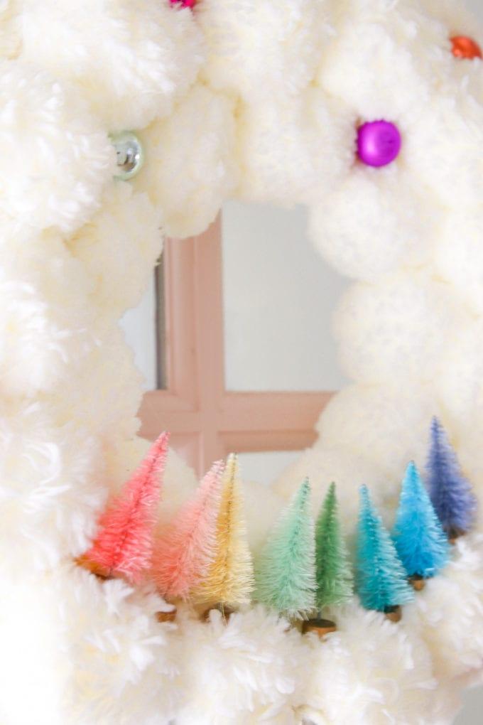 rainbow bottle brush tree wreath