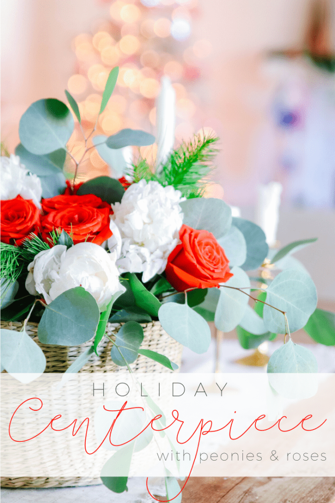 holiday centerpiece with peonies