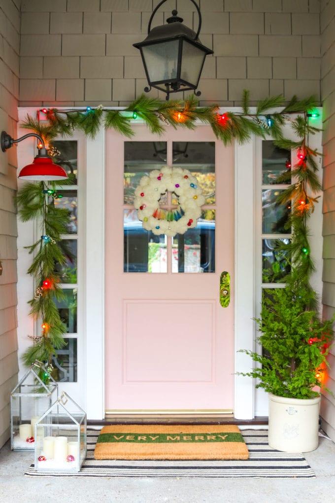minimalist farmhouse christmas porch