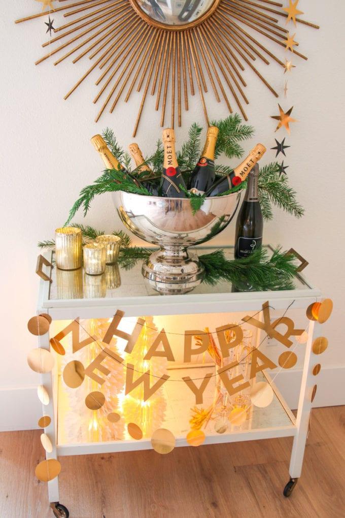 new year's eve bar cart