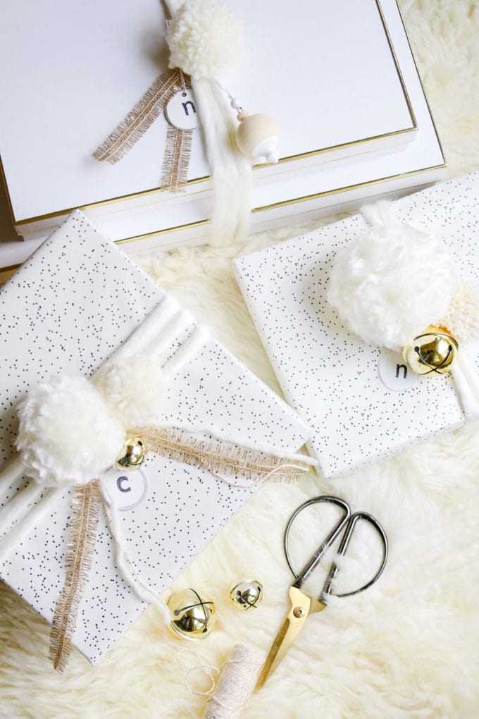 neutral holiday gift wrap