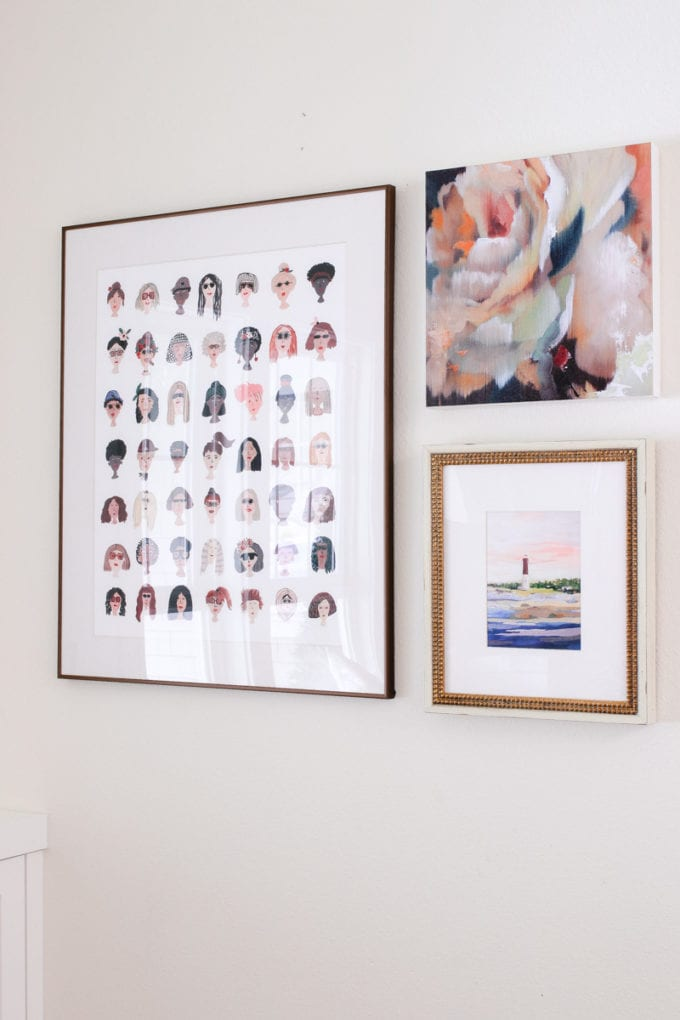 eclectic art gallery wall