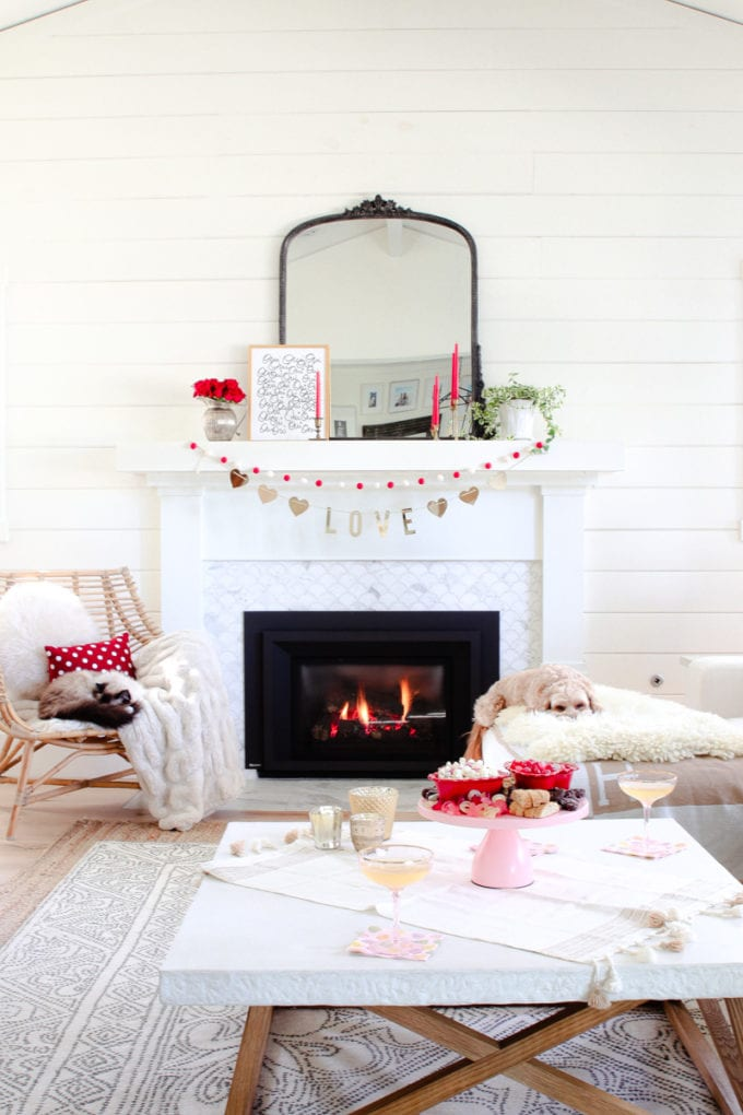 red and white mantel decorations
