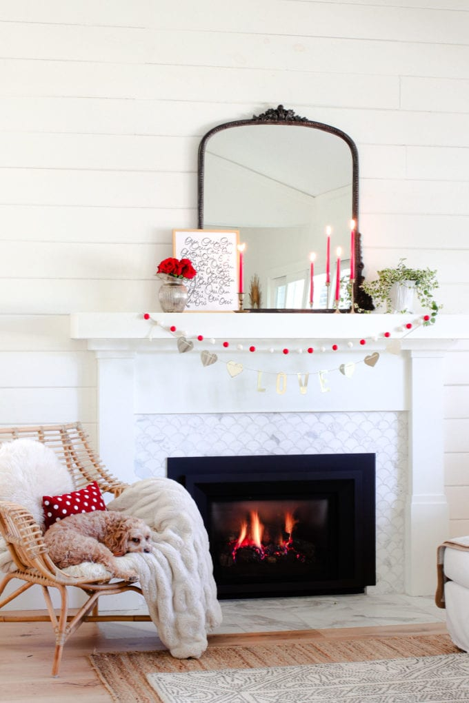 valentine's day mantel garland
