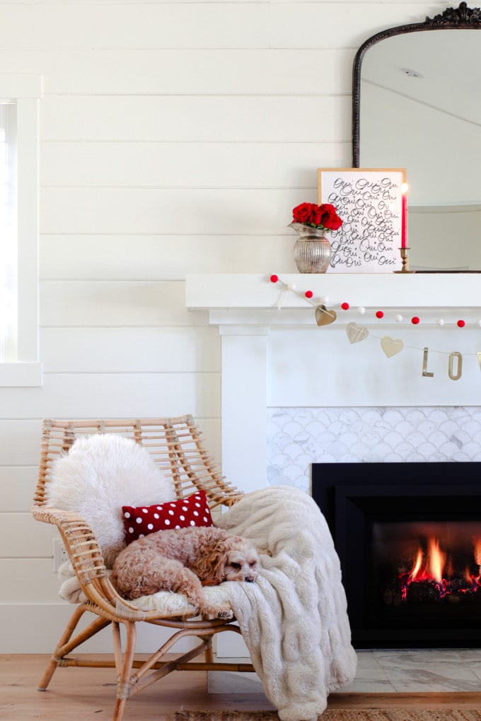 chic valentine's day mantel decor