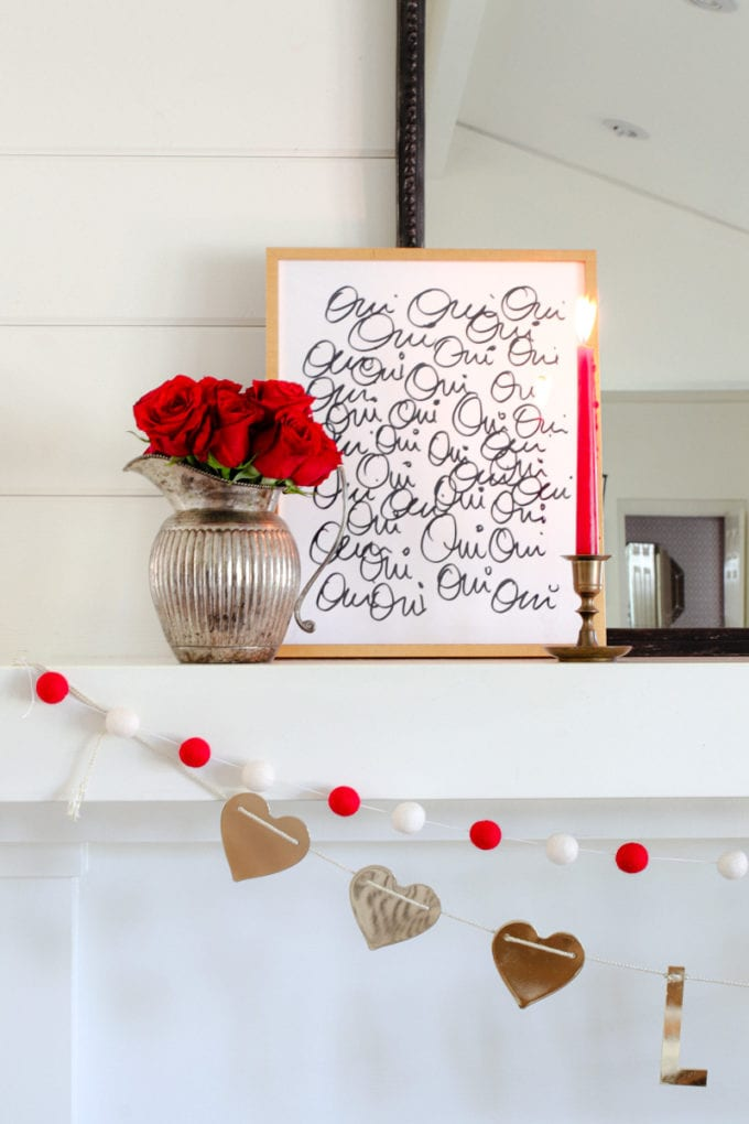 french valentine's day mantel decor