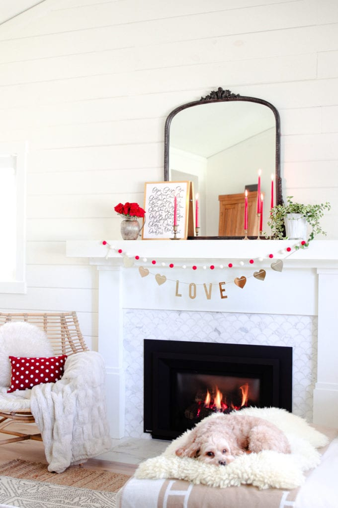 valentine's Day Mantel decorating ideas that are subtle