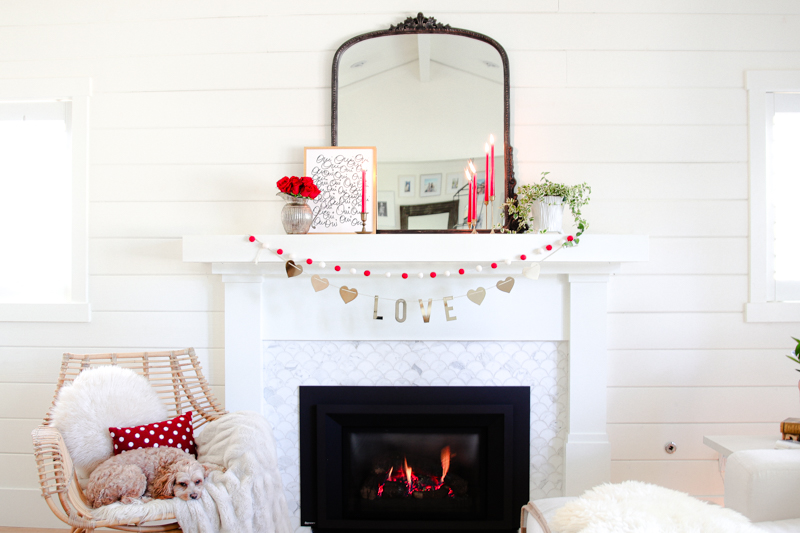 valentines day mantel decor