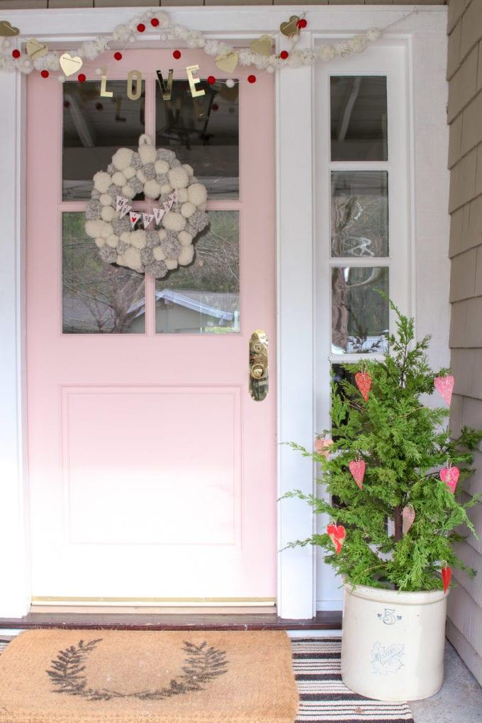 valentine front porch decor