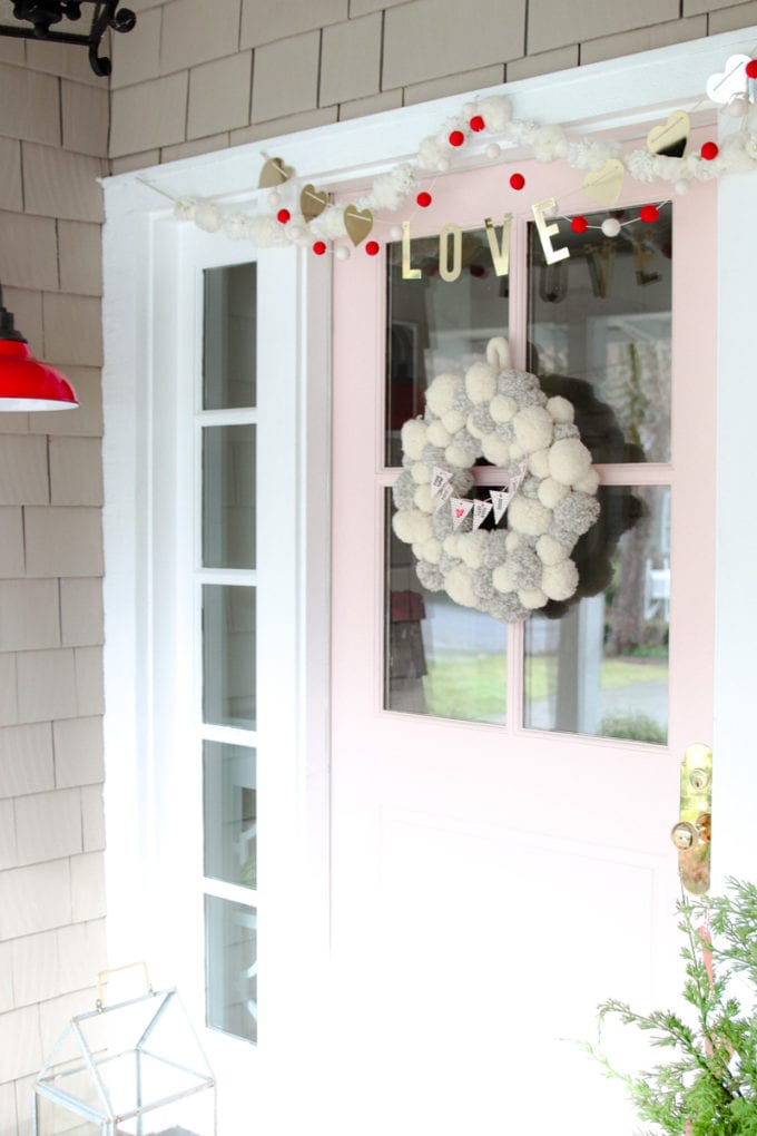 simple valentine's day porch decor for front door
